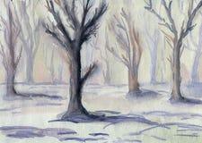 Πρωί στο χειμερινό δάσος Τοπίο Στοκ Εικόνες