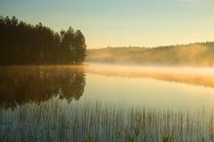 Πρωί της Misty Αύγουστος στη δασική λίμνη, Φινλανδία Στοκ φωτογραφία με δικαίωμα ελεύθερης χρήσης