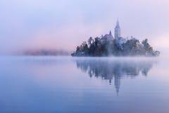 Πρωί της Misty στη λίμνη που αιμορραγείται στοκ φωτογραφία