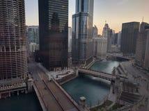Πρωί του Σικάγου με μια άποψη Στοκ εικόνα με δικαίωμα ελεύθερης χρήσης