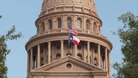 Πρωινή άποψη κινηματογραφήσεων σε πρώτο πλάνο του θόλου κρατικού Capitol του Τέξας φιλμ μικρού μήκους