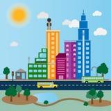 Πρωινό διάνυσμα εικονικής παράστασης πόλης με το φως του ήλιου και τα σύννεφα ελεύθερη απεικόνιση δικαιώματος