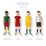 Πρωτάθλημα ποδοσφαίρου της Ρωσίας 2017 Ομάδα Β: Καμερούν, Χιλή, Αυστραλία, Γερμανία διάνυσμα Στοκ Εικόνα