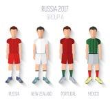 Πρωτάθλημα ποδοσφαίρου της Ρωσίας 2017 Ομαδοποιήστε το Α: Ρωσία, Νέα Ζηλανδία, Πορτογαλία, Μεξικό επίσης corel σύρετε το διάνυσμα Στοκ Εικόνες