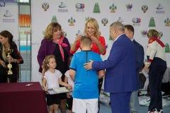 Πρωταθλήματα αντισφαίρισης για τα βραβεία της Elena Vesnina Στοκ Φωτογραφίες