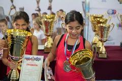 Πρωταθλήματα αντισφαίρισης για τα βραβεία της Elena Vesnina Στοκ εικόνα με δικαίωμα ελεύθερης χρήσης