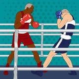 Πρωταθλήματα εγκιβωτισμού Δύο μπόξερ είναι πάλη στον επαγγελματικό εγκιβωτισμό μ Στοκ Εικόνα