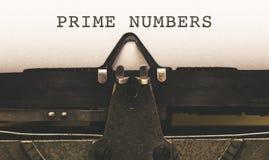 Πρωταρχικοί αριθμοί κειμένων στον εκλεκτής ποιότητας συγγραφέα από το 1920 το s τύπων Στοκ Εικόνες