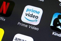 Πρωταρχικό τηλεοπτικό εικονίδιο εφαρμογής του Αμαζονίου στο iPhone Χ της Apple κινηματογράφηση σε πρώτο πλάνο οθόνης Εικονίδιο το Στοκ φωτογραφία με δικαίωμα ελεύθερης χρήσης