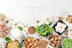 Πρωτεϊνικές πηγές Vegan στοκ εικόνα με δικαίωμα ελεύθερης χρήσης