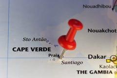 Πρωτεύουσα Praia του Πράσινου Ακρωτηρίου στον Ατλαντικό Ωκεανό διανυσματική απεικόνιση