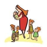 Πρωτόγονα αρχαία μητέρα και παιδιά Στοκ Εικόνα