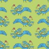 Πρωτόγονα πουλιά σχεδίων Άνευ ραφής σχέδιο κινούμενων σχεδίων με τα πουλιά Στοκ Εικόνες