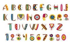 Πρωτόγονη μεξικάνικη πηγή Φυλετική ινδική ή αφρικανική διανυσματική απεικόνιση αριθμών επιστολών Στοκ φωτογραφία με δικαίωμα ελεύθερης χρήσης