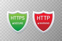 Πρωτόκολλα HTTP και HTTPS Ασφαλές και ασφαλές ξεφύλλισμα Wev επίσης corel σύρετε το διάνυσμα απεικόνισης Στοκ Φωτογραφίες