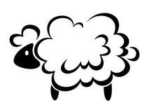 Πρόβατα Διανυσματική μαύρη σκιαγραφία Στοκ Εικόνα