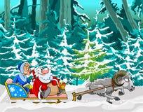 Πρόβατα κινούμενων σχεδίων που οδηγούνται σε ένα έλκηθρο Άγιου Βασίλη και του κοριτσιού χιονιού Στοκ Εικόνες
