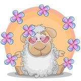 Πρόβατα με τα λουλούδια Στοκ φωτογραφία με δικαίωμα ελεύθερης χρήσης