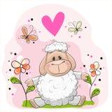 Πρόβατα με τα λουλούδια Στοκ εικόνα με δικαίωμα ελεύθερης χρήσης
