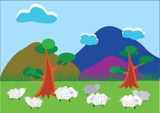 Πρόβατα σε ένα ξέφωτο διανυσματική απεικόνιση