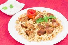 Πρόβειο κρέας Biryani με τη σαλάτα Στοκ Εικόνες