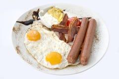 Πρόγευμα, αυγά με τα χοτ-ντογκ στοκ εικόνα