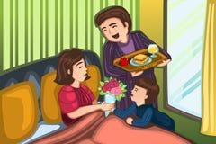 Πρόγευμα ημέρας μητέρων στο κρεβάτι ελεύθερη απεικόνιση δικαιώματος