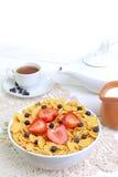 Πρόγευμα - δημητριακά με τις φράουλες και τα βακκίνια στοκ φωτογραφίες με δικαίωμα ελεύθερης χρήσης