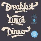 Πρόγευμα, μεσημεριανό γεύμα, γεύμα Καλλιτεχνικό συρμένο χέρι χειρόγραφο που γράφει το Φ Στοκ εικόνες με δικαίωμα ελεύθερης χρήσης