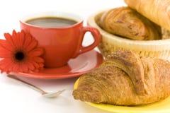 Πρόγευμα με τον καφέ και croissants Στοκ Εικόνα