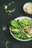 Πρόγευμα με το σπανάκι, το arugula, το αβοκάντο, τους σπόρους και τους νεαρούς βλαστούς στο κύπελλο Στοκ Εικόνα