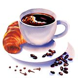 Πρόγευμα πρωινού, φλυτζάνι καφέ και croissants με τα φασόλια καφέ και το καρύκευμα γαρίφαλων, τα ξηρά γαρίφαλα και τα σιτάρια καφ απεικόνιση αποθεμάτων
