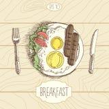 Πρόγευμα, τηγανισμένες αυγά και σαλάτα λουκάνικων, ύφος σκίτσων, έννοια επιλογών διανυσματική απεικόνιση
