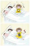 πρόγονοι κορών που παίζουν τον ύπνο ελεύθερη απεικόνιση δικαιώματος