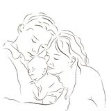 Πρόγονοι με έναν νεογέννητο Στοκ Εικόνες