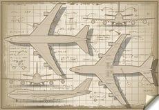 Πρόγραμμα αεροπλάνων κατά πέντε ορθογώνιες απόψεις Στοκ Φωτογραφίες