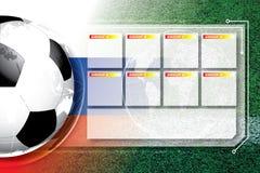 Πρόγραμμα ανταγωνισμού ποδοσφαίρου ποδοσφαίρου υποβάθρου στοκ εικόνα