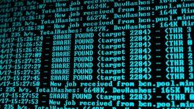 Πρόγραμμα διαδικασίας Cryptocurrency μεταλλείας για το PC επίδειξης Χρησιμοποίηση του λογισμικού Μερίδιο που βρίσκεται στοκ φωτογραφίες με δικαίωμα ελεύθερης χρήσης