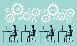 Πρόγραμμα διαδικασίας εργασίας επιχειρησιακών ατόμων στο διάνυσμα γραφείων διανυσματική απεικόνιση
