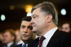 Πρόεδρος της Ουκρανίας Petro Poroshenko και του πρωθυπουργού Vladimi Στοκ εικόνες με δικαίωμα ελεύθερης χρήσης