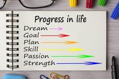 Πρόοδος στη ζωή που γράφεται στο σημειωματάριο στοκ φωτογραφία