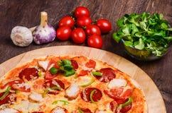 πρόσθεσε όλη την εύκολα editable eps8 pepperoni στρωμάτων αρχείων πίτσα χωριστή Στοκ φωτογραφία με δικαίωμα ελεύθερης χρήσης