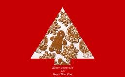 πρόσθετα Χριστούγεννα μορφής ανασκόπησης Χριστουγεννιάτικο δέντρο που γίνεται από το μελόψωμο Έννοια Χριστουγέννων Κάρτα Χαρούμεν στοκ εικόνα με δικαίωμα ελεύθερης χρήσης