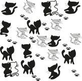 πρόσθετες γατών εύκολες editable eps8 μορφής σκιαγραφίες συνόλου στρωμάτων χωριστές πολύ Στοκ εικόνα με δικαίωμα ελεύθερης χρήσης
