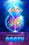 πρόσθετη μορφή disco ανασκόπησης Αφίσα χειμερινών κοκτέιλ Στοκ εικόνα με δικαίωμα ελεύθερης χρήσης