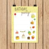 Πρόσκληση ή έμβλημα γιορτής γενεθλίων στο ύφος doodle ελεύθερη απεικόνιση δικαιώματος