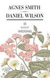 Πρόσκληση γαμήλιων ευχαριστιών Όμορφη ρεαλιστική κάρτα ηλιοτροπίων Chamomile λουλουδιών Πλαίσιο, ετικέτα Διανυσματική βικτοριανή  Στοκ Φωτογραφίες