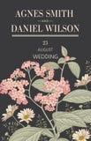 Πρόσκληση γαμήλιων ευχαριστιών Όμορφη ρεαλιστική κάρτα ηλιοτροπίων Chamomile λουλουδιών Πλαίσιο, ετικέτα Διανυσματική βικτοριανή  Στοκ φωτογραφία με δικαίωμα ελεύθερης χρήσης