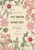Πρόσκληση γαμήλιων ευχαριστιών Όμορφη ρεαλιστική κάρτα ηλιοτροπίων λουλουδιών Πλαίσιο, ετικέτα Διανυσματική βικτοριανή απεικόνιση Στοκ φωτογραφία με δικαίωμα ελεύθερης χρήσης