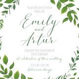 Πρόσκληση γαμήλιων η floral πρασινάδων, προσκαλεί, εκτός από την κάρτα β ημερομηνίας ελεύθερη απεικόνιση δικαιώματος